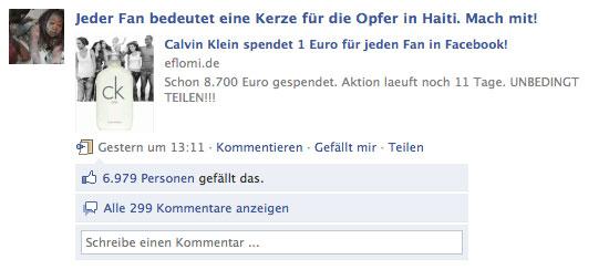 """Diese kürzlich enstandene Fanseite hat über 380.000 Fans und hat auch zum """"Fan werden"""" aufgerufen bei CK one Germany"""