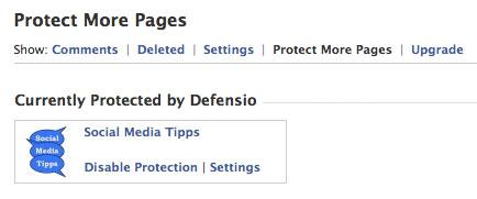 Eine oder mehrere Facebook-Seiten können in die Überwachung durch Defensio eingetragen werden