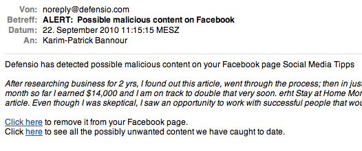 Defensio schickt ein E-Mail, wenn es einen potenziellen Spambeitrag oder -kommentar auf der Facebook-Seite entdeckt hat