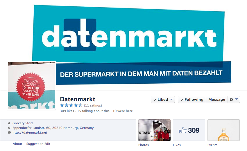 Screenshot Facebook-Seite Datenmarkt 11.03.2014