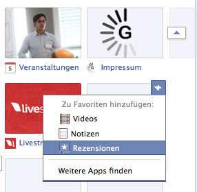 Facebook Rezensionen Tab hinzufügen