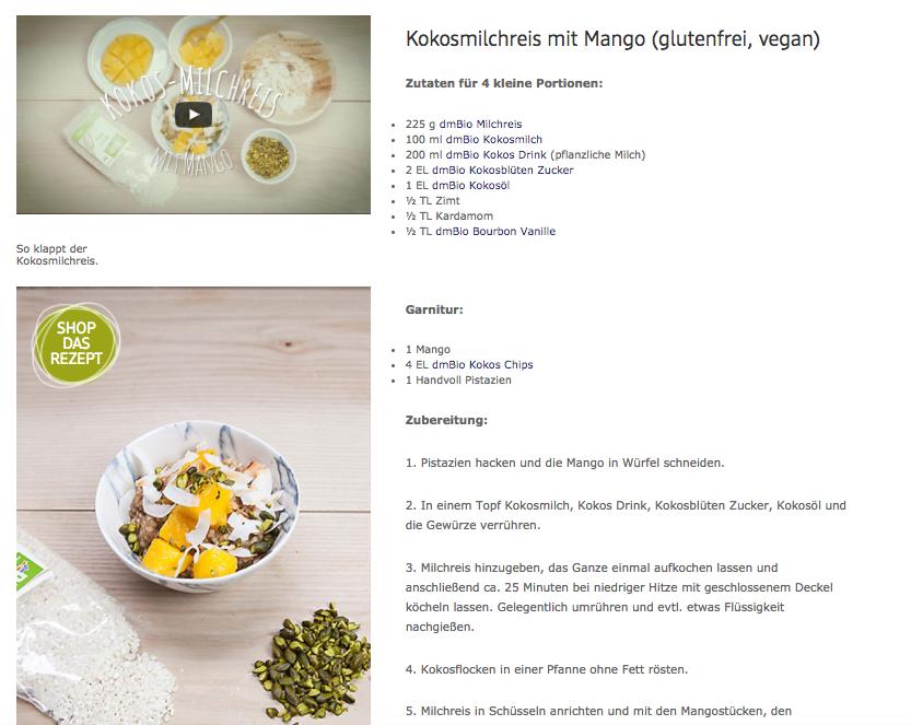 Neben der Kochanleitung (Video) findet man das Rezept sowie einen Link, wo man alle Produkte dazu kaufen kann.